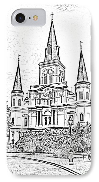 St Louis Cathedral Jackson Square French Quarter New Orleans Photocopy Digital Phone Case by Shawn O'Brien
