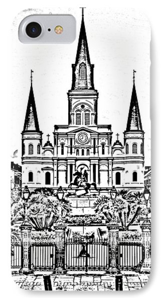St Louis Cathedral On Jackson Square In The French Quarter New Orleans Photocopy Digital Art Phone Case by Shawn O'Brien
