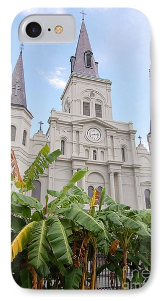 St Louis Cathedral Rising Above Palms Jackson Square French Quarter New Orleans Print  Phone Case by Shawn O'Brien