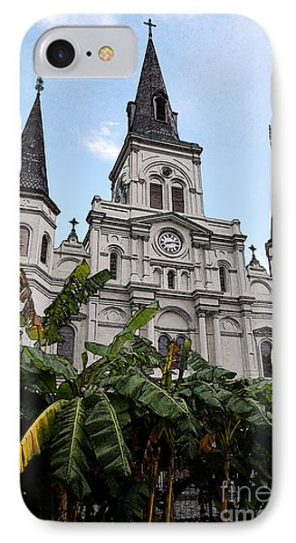 St Louis Cathedral Rising Above Palms Jackson Square New Orleans Fresco Digital Art Phone Case by Shawn O'Brien