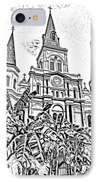 St Louis Cathedral Rising Above Palms Jackson Square New Orleans Photocopy Digital Art Phone Case by Shawn O'Brien