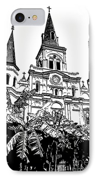 St Louis Cathedral Rising Above Palms Jackson Square New Orleans Stamp Digital Art Phone Case by Shawn O'Brien
