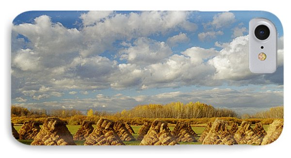 Stacked Hay Bales In Field, Selkirk Phone Case by Dave Reede