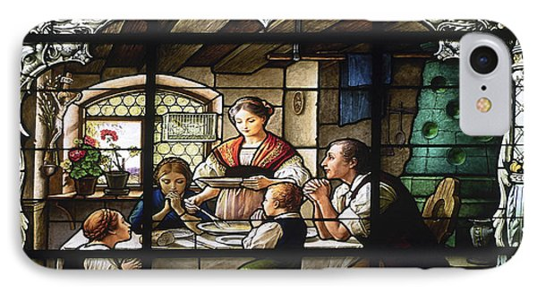 Stained Glass Family Giving Thanks Phone Case by Sally Weigand