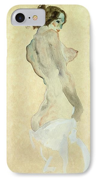 Standing Female Nude Phone Case by Egon Schiele