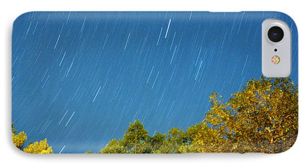 Star Trails On A Blue Sky IPhone Case by Kay Lovingood