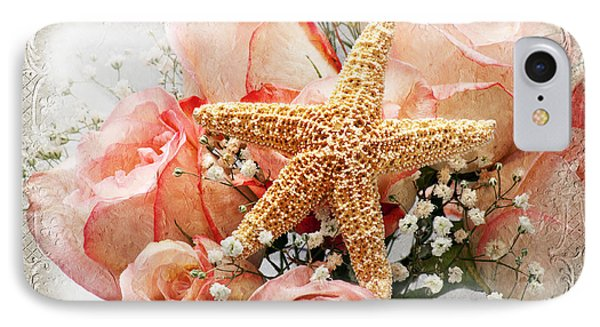 Starfish And Pink Roses IPhone Case by Andee Design