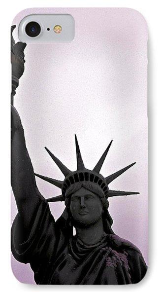 Statue Of Liberty Purple Sunset IPhone Case by LeeAnn McLaneGoetz McLaneGoetzStudioLLCcom