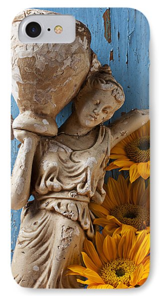 Statue Of Woman With Sunflowers IPhone Case by Garry Gay