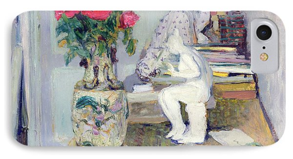 Statuette By Maillol And Red Roses IPhone Case by Edouard Vuillard