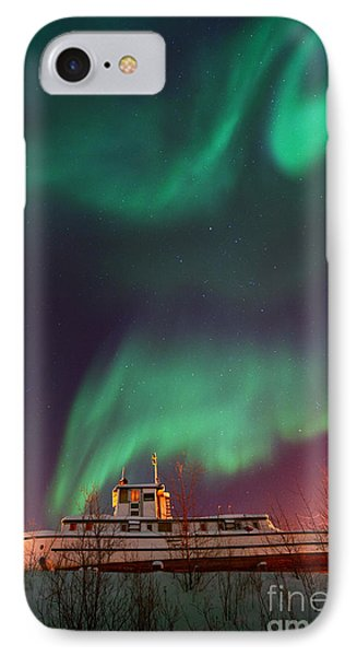 Steamboat Under Northern Lights Phone Case by Priska Wettstein