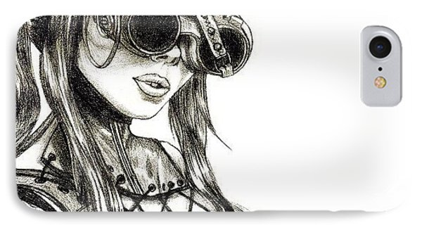 Steampunk Girl 1 IPhone Case by Andres R