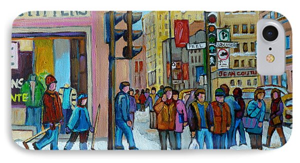 Ste.catherine And Peel Streets Phone Case by Carole Spandau