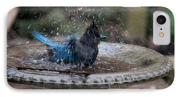 IPhone Case featuring the digital art Stellar Jay In The Birdbath by Carol Ailles