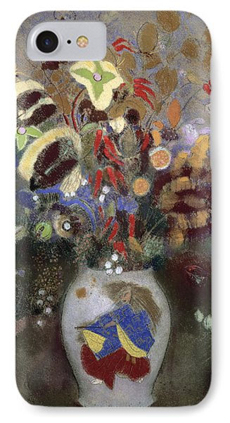 Still Life Of A Vase Of Flowers Phone Case by Odilon Redon
