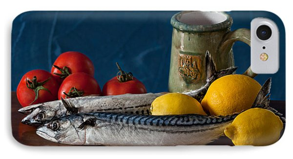 Still Life With Mackerels Lemons And Tomatoes IPhone Case by Juan Carlos Ferro Duque