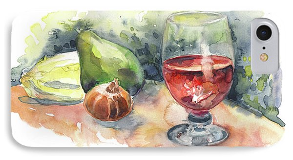 Still Life With Red Wine Glass IPhone Case by Miki De Goodaboom
