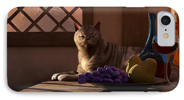 Still Life With Wine Fruit And Cat  IPhone Case by Daniel Eskridge