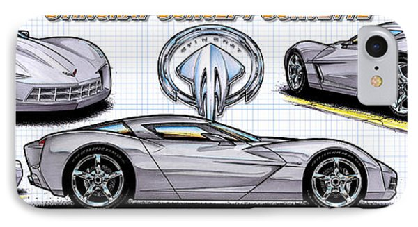 IPhone Case featuring the drawing 2010 Stingray Concept Corvette by K Scott Teeters