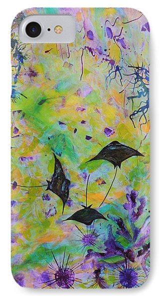 IPhone Case featuring the painting Stingrays And Coral by Lyn Olsen