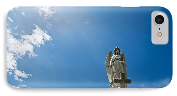 Stone Angel And Blue Sky IPhone Case by Ray Laskowitz
