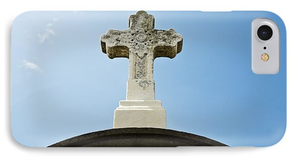 Stone Cross And Blue Sky IPhone Case by Ray Laskowitz