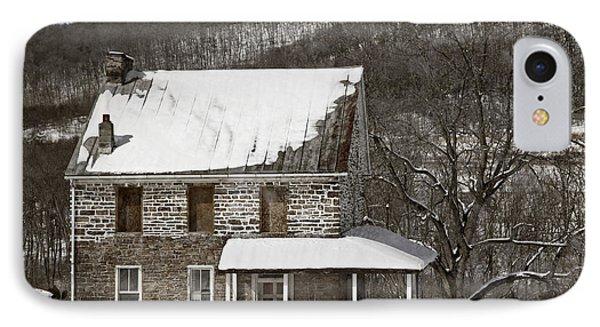 Stone Farmhouse In Snow Phone Case by John Stephens