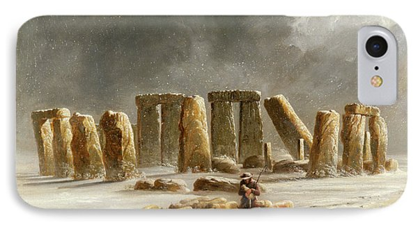 Stonehenge In Winter  IPhone Case by Walter Williams