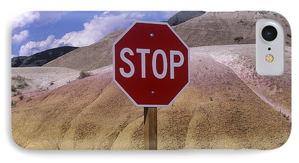 Stop Sign In South Dakota Badlands Phone Case by Will & Deni McIntyre