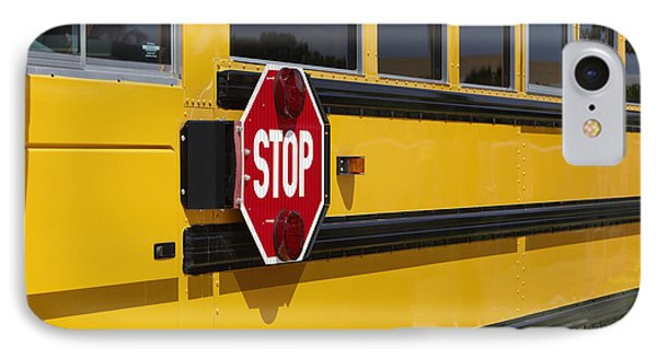 Stop Sign On A School Bus Phone Case by Skip Nall