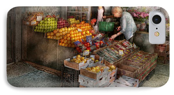 Storefront - Hoboken Nj - Picking Out Fresh Fruit Phone Case by Mike Savad