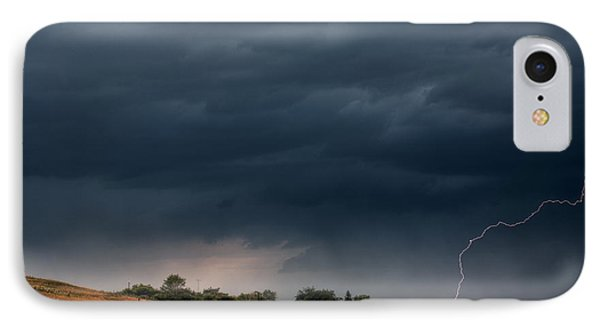 Storm Clouds And Lightning Along A Saskatchewan Country Road Phone Case by Mark Duffy