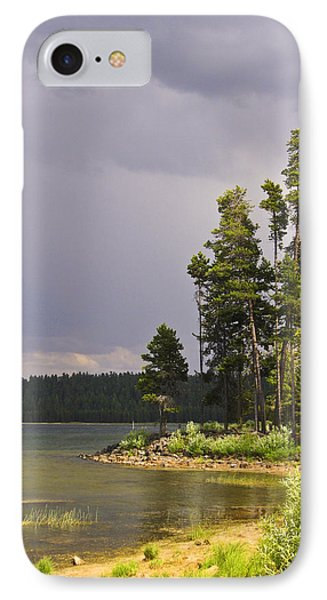 Storm Clouds Over A Lake IPhone Case by Anne Mott