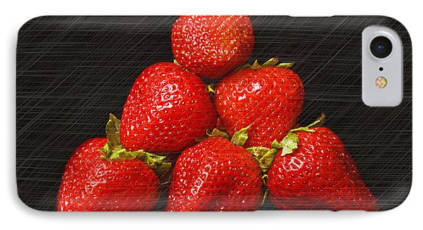 Strawberry Pyramid On Black Phone Case by Andee Design