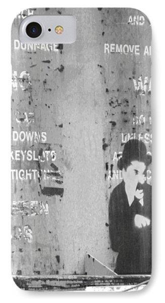 Street Graffiti Art - The Little Tramp Bw IPhone Case