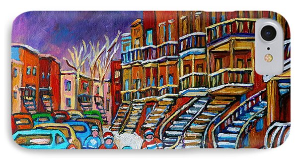 Street Hockey Game In Winter Phone Case by Carole Spandau