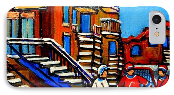 Street Hockey Near Staircases Montreal Winter Scene Phone Case by Carole Spandau