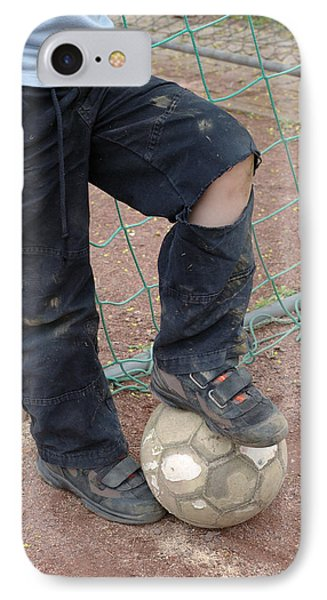 Street Soccer - Torn Trousers And Ball Phone Case by Matthias Hauser