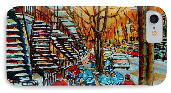 Streets Of Verdun Hockey Art Montreal City Scenes With Winding Staircases And Row Houses Phone Case by Carole Spandau