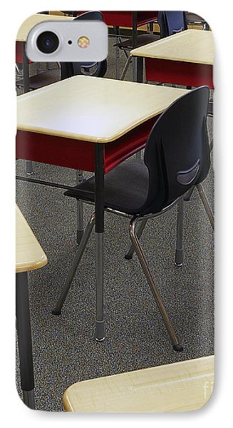 Student Desks In Classroom Phone Case by Skip Nall
