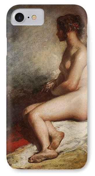 Study Of A Seated Nude Phone Case by William Etty