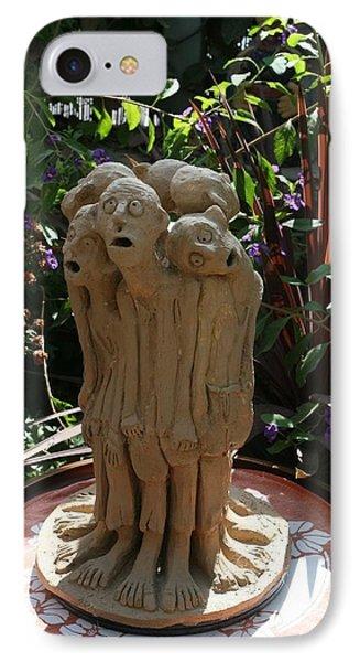Suffering Circle Ceramic Sculpture Brown Clay  IPhone Case