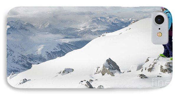 Summit Snowboarder Planning The Descent From Weissfluhgipfel Davos  Phone Case by Andy Smy