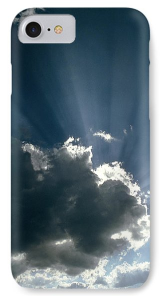 Sun Rays Shining From Behind A Cloud Phone Case by Tony Craddock