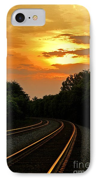 Sun Reflecting On Tracks Phone Case by Benanne Stiens