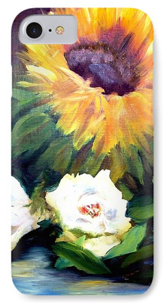 Sunflower And White Roses IPhone Case by Patti Gordon