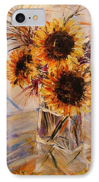 IPhone Case featuring the painting Sunflowers by Karen  Ferrand Carroll