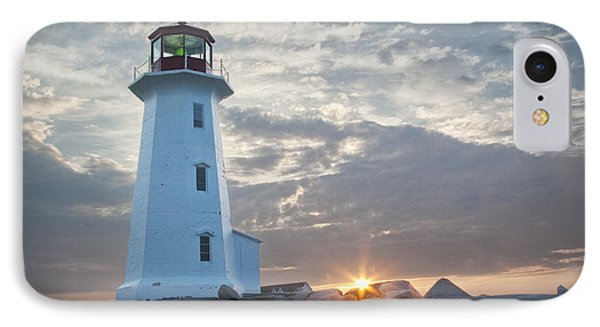 Sunrise At Peggys Cove Lighthouse In Nova Scotia Number 041 IPhone Case by Randall Nyhof