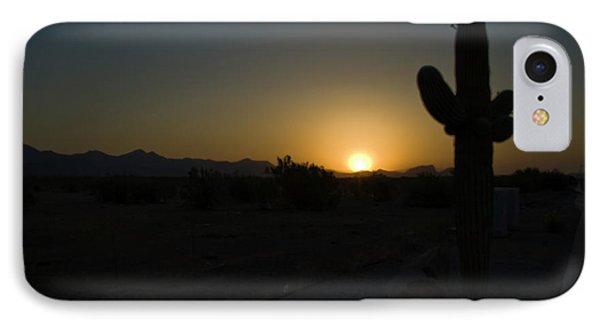 IPhone Case featuring the photograph Sunrise Saguaro by Tom Singleton