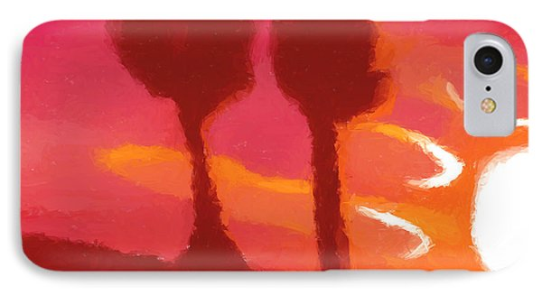 Sunset Abstract Trees Phone Case by Pixel Chimp